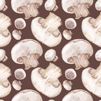 Tracé aquarelle transparente aux champignons