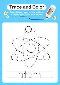 Trace d'atome et trace de feuille de calcul préscolaire couleur pour les enfants pour la pratique de la motricité fine
