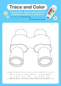 Trace binoculaire et trace de feuille de calcul préscolaire couleur pour les enfants pour la pratique de la motricité fine
