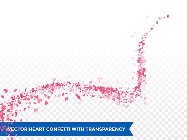 Trace de coeurs roses ou vecteur mariage amour comète trace trace de confettis fond transparent