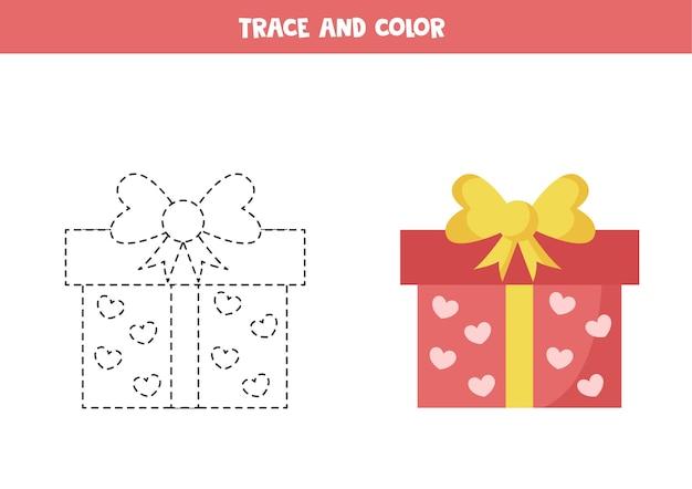 Trace et couleur cadeau saint-valentin jeu éducatif pour les enfants