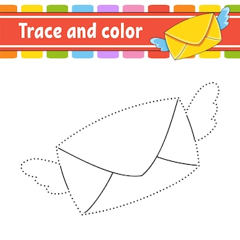 Trace et couleur. coloriage pour les enfants.