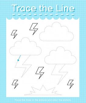 Trace et couleur: feuille de calcul trace the line pour les enfants d'âge préscolaire - thunder