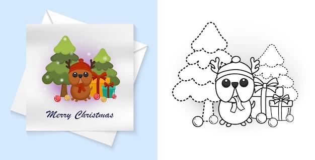 Trace et couleur joyeux noël pour carte postale, feuille de travail préscolaire pour la pratique