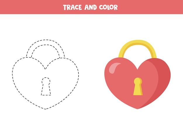 Trace et couleur de la serrure de la saint-valentin en forme de coeur jeu éducatif pour les enfants