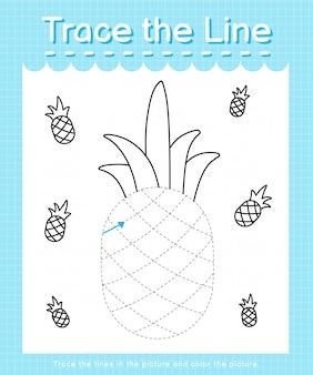 Trace et couleur trace la feuille de calcul de la ligne pour les enfants d'âge préscolaire - ananas