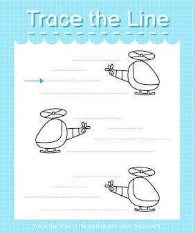 Trace et couleur trace la feuille de calcul de la ligne pour les enfants d'âge préscolaire - hélicoptère