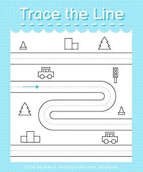 Trace et couleur trace la feuille de calcul de la ligne pour les enfants d'âge préscolaire - road