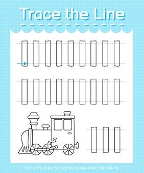 Trace et couleur trace la feuille de calcul de la ligne pour les enfants d'âge préscolaire - train