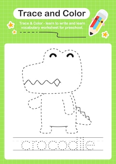 Trace de crocodile et trace de feuille de calcul préscolaire couleur
