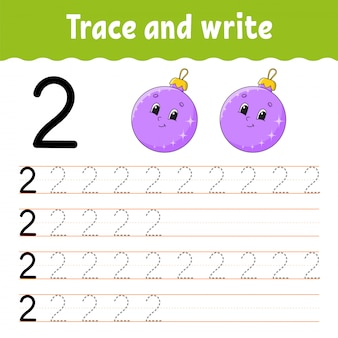 Trace et écrit. pratique de l'écriture. apprentissage des chiffres pour les enfants.