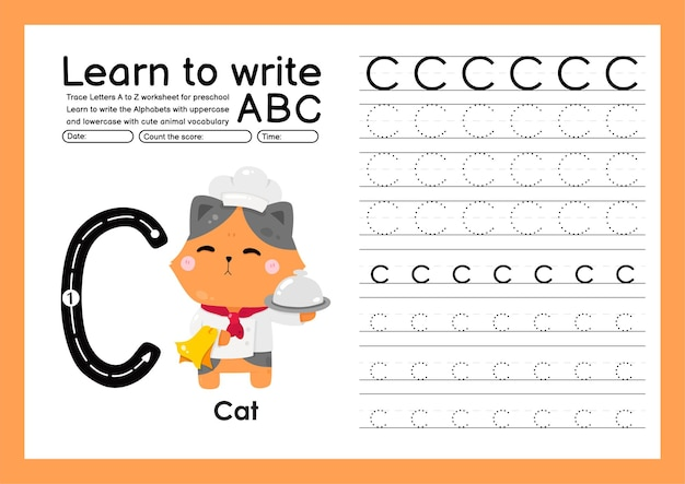 Trace d'enfant d'âge préscolaire de a à z avec le vocabulaire des lettres et des animaux feuille de calcul de traçage de l'alphabet c chat