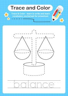 Trace d'équilibre et trace de feuille de calcul préscolaire couleur pour les enfants pour la pratique de la motricité fine