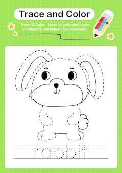 Trace de lapin et trace de feuille de calcul préscolaire couleur