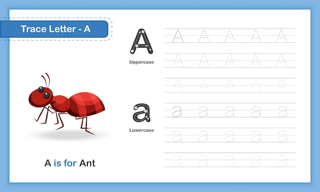 Trace letter-a: hand writing practice book, az animal