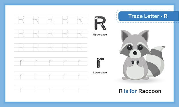Trace letter-r: az animal, hand writing practice book