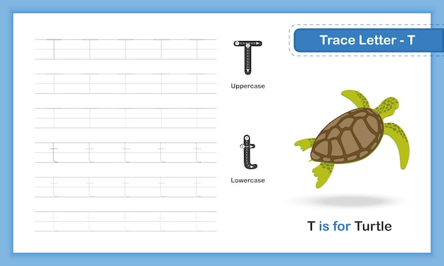 Trace letter-t: az animal, hand writing practice book