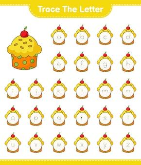 Trace la lettre. lettre de traçage avec cup cake. jeu éducatif pour enfants, feuille de calcul imprimable, illustration vectorielle