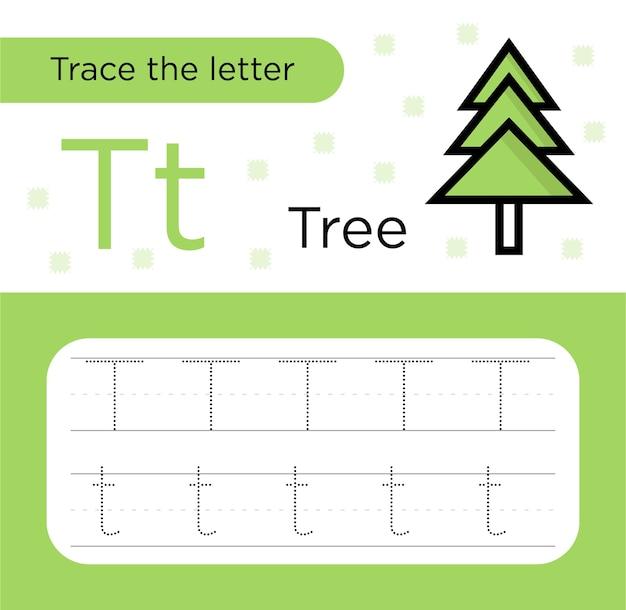 Trace lettre t concept pour feuille de calcul de l'éducation de l'arbre de noël