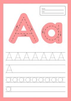 Trace-lettres feuille a4 pour les enfants d'âge préscolaire et scolaire.