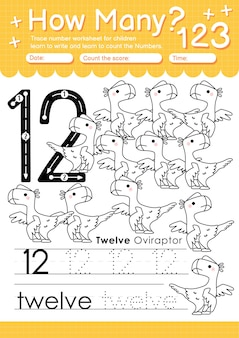 Trace numéro 12 feuille de calcul pour les enfants de la maternelle et d'âge préscolaire