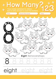 Trace numéro 8 feuille de calcul pour les enfants de la maternelle et d'âge préscolaire