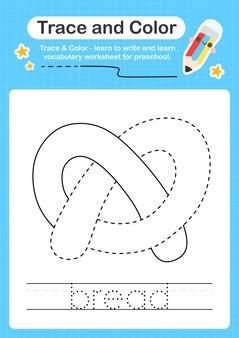 Trace de pain et trace de feuille de calcul préscolaire couleur pour les enfants pour la pratique de la motricité fine