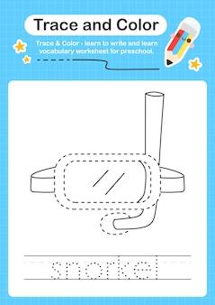 Trace de plongée avec tuba et trace de feuille de calcul préscolaire couleur pour les enfants pour la pratique de la motricité fine