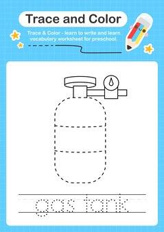 Trace de réservoir d'essence et trace de feuille de calcul préscolaire en couleur pour les enfants pour la pratique de la motricité fine
