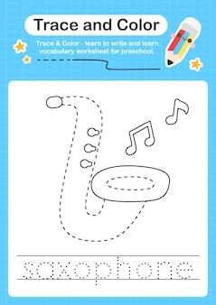 Trace de saxophone et trace de feuille de calcul préscolaire couleur pour les enfants pour la pratique de la motricité fine