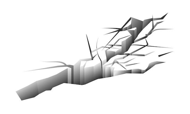 Trace de tremblement de terre au sol fissuré sur fond blanc