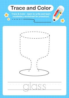 Trace de verre et trace de feuille de calcul préscolaire en couleur pour les enfants pour la pratique de la motricité fine