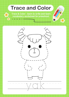 Trace de yak et trace de feuille de calcul préscolaire couleur