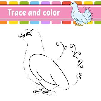 Tracer et colorier la page de coloriage pour les enfants pratique de l'écriture manuscrite