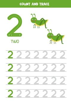 Tracer la feuille de calcul des nombres avec une sauterelle mignonne. trace numéro 2.