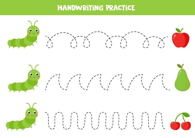 Tracer des lignes avec une chenille de dessin animé et des fruits. pratique de l'écriture.