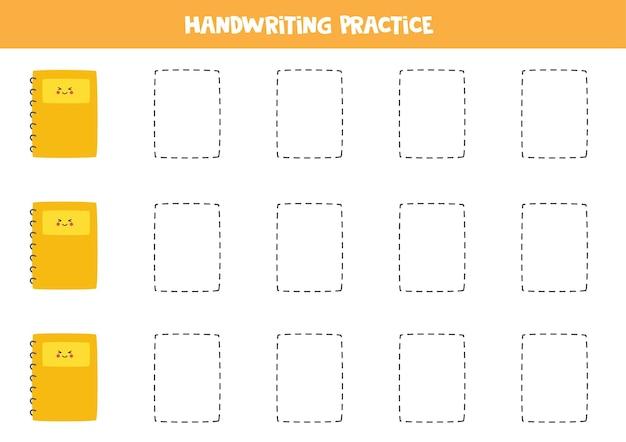 Tracer des lignes avec de jolis cahiers. pratique de l'écriture.
