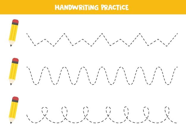 Tracer des lignes avec de jolis crayons jaunes. pratique de l'écriture.