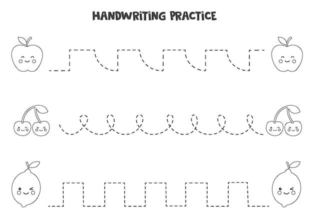 Tracer des lignes avec de jolis fruits noirs et blancs. pratique de l'écriture.