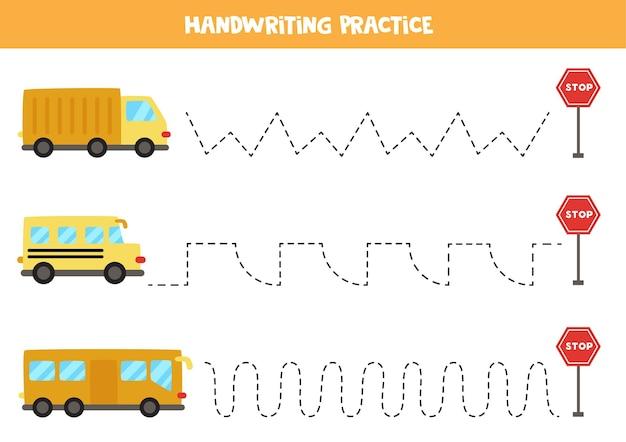 Tracer des lignes pour les enfants avec des moyens de transport colorés. pratique de l'écriture manuscrite pour les enfants.