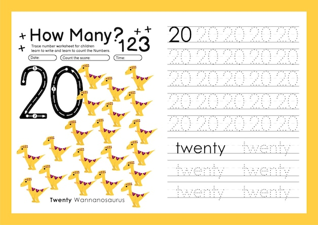Tracer des numéros en écrivant des feuilles de travail et en apprenant des numéros pour le préscolaire numéro vingt 20