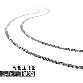 Traces de pneu de roue, trace sinueuse.