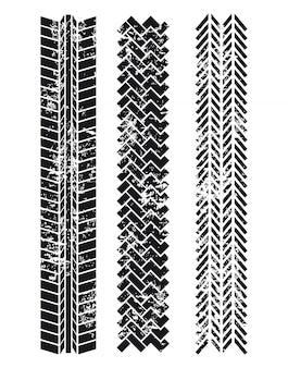 Traces de pneus sur illustration vectorielle fond blanc