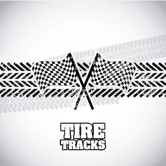 Traces de pneus sur illustration vectorielle fond gris