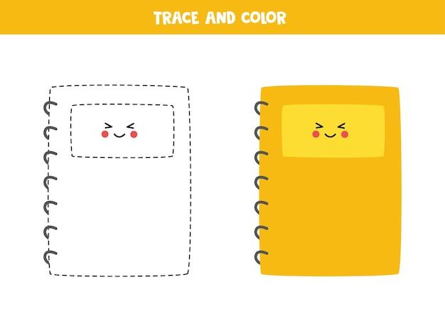 Tracez et coloriez un joli cahier kawaii. feuille de travail pour les enfants.