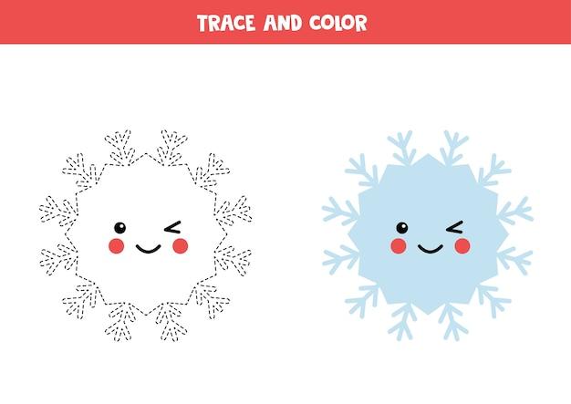 Tracez et coloriez un joli flocon de neige kawaii
