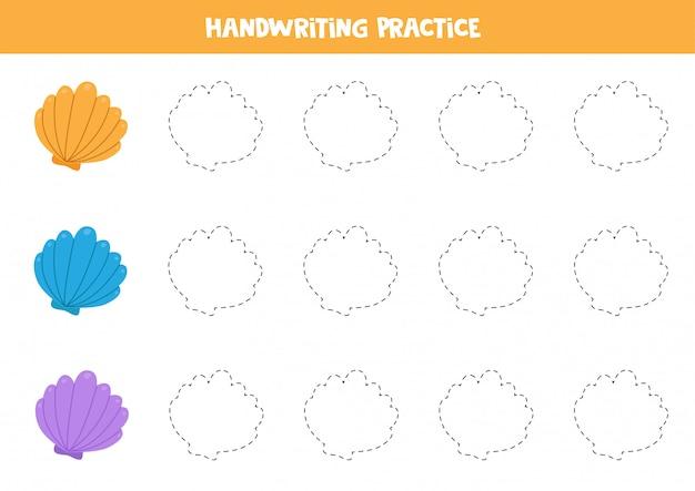 Tracez le contour des coquillages. feuille de travail éducative pour les enfants.