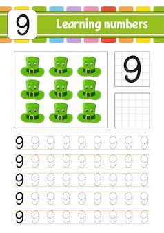 Tracez et écrivez des nombres. pratique de l'écriture manuscrite. apprentissage des nombres pour les enfants