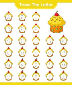 Tracez la lettre lettre de traçage avec cup cake feuille de travail imprimable du jeu éducatif pour enfants