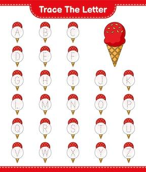 Tracez la lettre lettre de traçage avec ice cream feuille de travail imprimable du jeu éducatif pour enfants